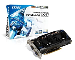 MSI N560GTX-Ti-M2D1GD5/OC NVIDIA GeForce GTX560 Ti, 1GB GDDR5, Dual DVI, Mini HDMI, PCI Express 2.0 X16 Graphics Card