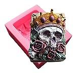 【Evergarden】スカルとバラ骸骨ガイコツシリコンモールド/オルゴナイト/アロマハイストーン石膏/手作り石鹸/レジン/樹脂粘土/型抜き型
