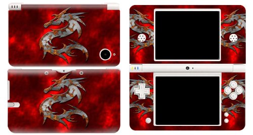 Bundle Monster Vinyl Skin Sticker For Nintendo DSi XL (LL) Handheld Game Console - Cover Protector Art Decal - Red Dragon