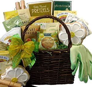 Provide a variety of coffee information delight for Gardening tools gift basket