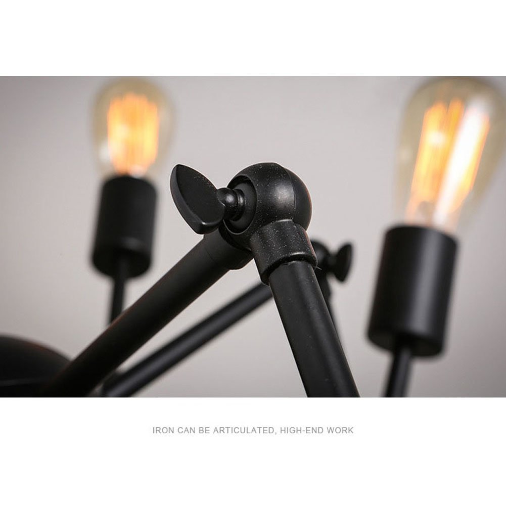 Aero Snail Creative Metal Pendant Light Vintage Black Barn Chandelier with 12 Lights Painted Finish 7