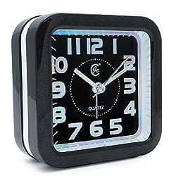 JCC Music Alarm sound silent LED night light Quartz Analog non ticking sweep second hand bedside alarm clock (Black)