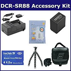 Sony DCR-SR88 Camcorder Accessory Kit includes: SDNPFV100 Battery, SDM-109 Charger, SDMSPD4096 Memory Card, SDC-27 Case, ZELCKSG Care & Cleaning, GP-22 Tripod