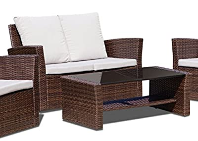New Rattan Wicker Weave Garden Furniture Patio Conservatory Sofa Set INCLUDES GARDEN FURNITURE COVER
