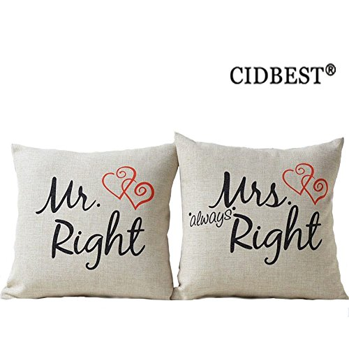 mr right mrs always right liebhaber hochzeit kissen cidbest mr mrs paar geschenke kissen dickes. Black Bedroom Furniture Sets. Home Design Ideas