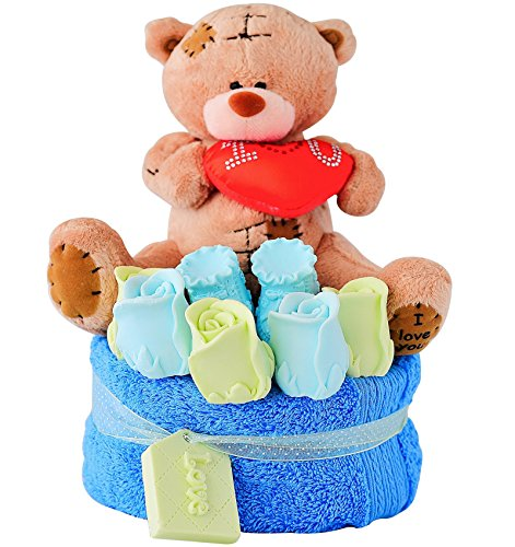 Baby Shower Gift Ideas for Boys - Unique It's a Boy Newborn Birth Cake Kit - Premium Scented Boyish Handmade Soap Roses, Shoes, Bear and Towel Perfect Present Set