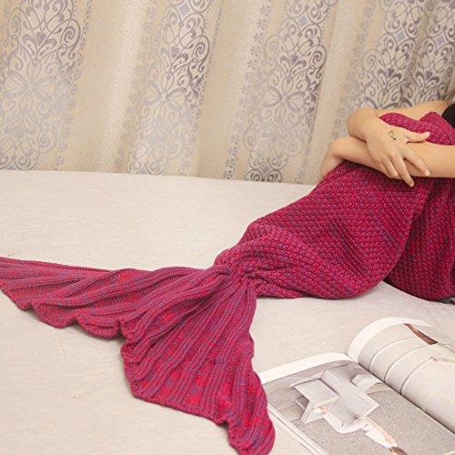 lofei Klimaanlage in Schwanz Mermaid Decke Decke Decke Decke Sofa Woll Strick Teppich, Teppich gewebt Decken mit hoher Qualität, weinrot, 195*95cm