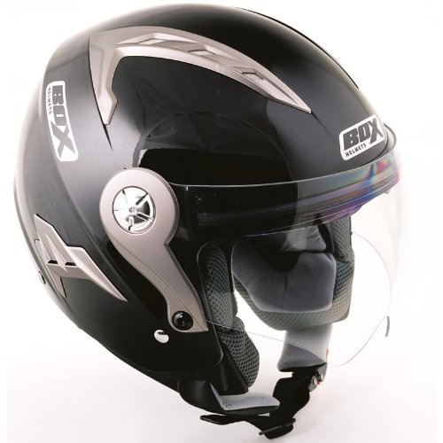Box JZ-1 Plain Motorcycle Helmet L Black