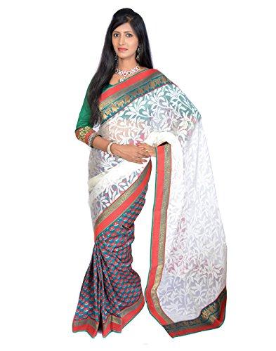 Jagadamba Floral Print Brasso Sari (multicolor)