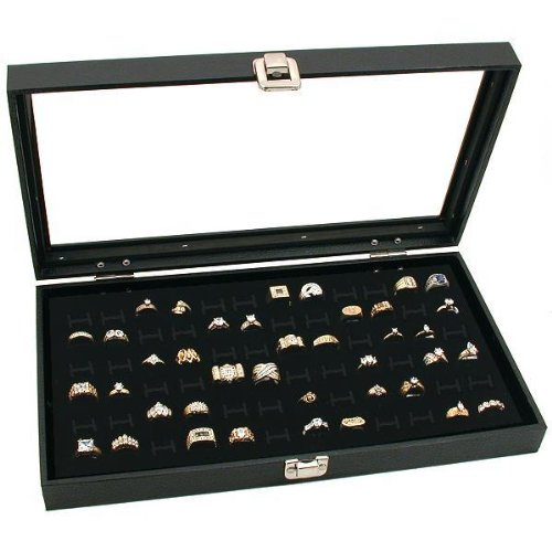 Glass Top Black Jewelry Display Case 72 Slot