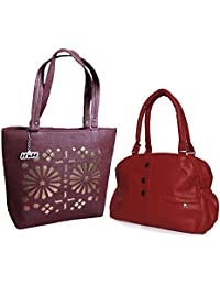 Arc HnH Women HandBag Combo - Elegant Red Handbag + Blossom Maroon - B01E2DXSUE