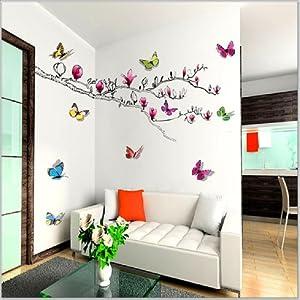 Walplus - Pegatinas de pared, diseño de mariposas y magnolia en 3D en BebeHogar.com