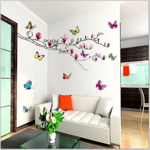 Walplus 3D Shinning Butterfly Magnolia Flower Wall Sticker Decals Decor Mural Home Decoration Art Wallpaper