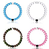 Classic Silicone Beaded Bracelet Expedited Shipping (XL, Blue+Pink+Clear+Camo)