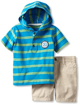 Calvin Klein Baby-Boys Infant Hooded Stripes Top with Shorts, Blue, 12 Months