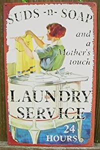 SUDS AND SOAP LAUNDRY SIGN, Vintage Metal LAUNDRY SERVICE Ad Sign, Vintage Retro Metal Tin Sign, Laundry Room Wall Plaque, Laundry Room, Sewing Room, Dry Cleaners or Laundromat Decor