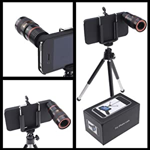 8x Optical Zoom Telescope Extended 30x70mm Lens For Apple iPhone 4 4G, Black