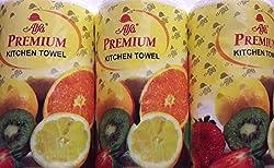 alfa premium Kitchen paper Roll, White Colour, 200Pulls Combo pack of 3