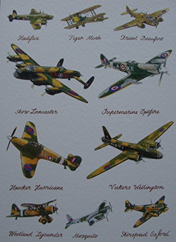 lancaster-vickers-tiger-moth-halifax-hurricane-spitfire-planes-greetings-card