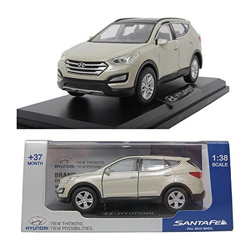 Hyundai Santafe Beige 1:38 Diecast Miniature Display Case Included Front Door