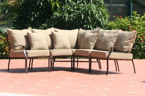 Black friday 7pc hampton patio furniture sectional tan for Cheap furniture sites