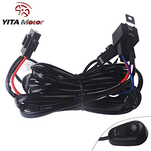 YITAMOTOR 8ft 40Amp 12V Power Fuse Relay ON/OFF Switch Wiring Harness Kit for Driving Light Fog Light ATV/Jeep LED Light Bar Offroad (Off Road Lights Packages compare prices)