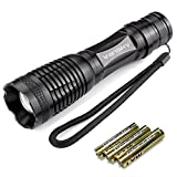 [#1 TOP RATED TACTICAL Flashlight] Vansky® 700 Lumen Cree Led Flashlight Adjustable Focus Zoom Water Resistant Camping Torch, 3 x AAA Batteries Included
