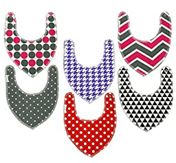 Drool Bibs By Colwares - 100% Cotton Baby Drool Bibs (Girls, 6-Pack)