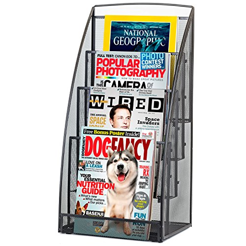 Halter Steel Mesh Magazine Rack / Literature Rack - 4 Pocket - Black