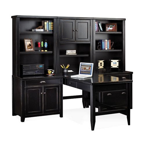 Martin Furniture Distressed Black Home Office Group