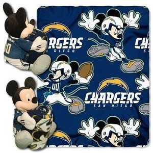 San Diego Chargers Mickey Mouse Throw And Hugger Plush 40 X 50 by Northwest