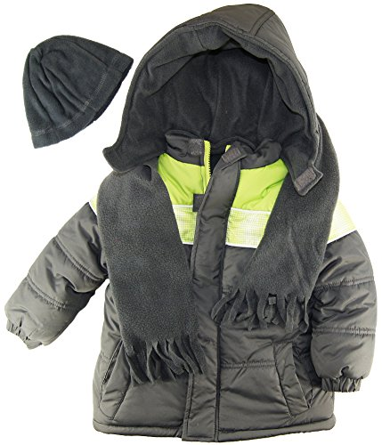Ixtreme Little Boys Puffer Hooded Winter Jacket With Scarf And Hat Set, Gray, 4T front-1000782