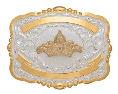 Crumrine Western Belt Buckle Girls Kids Tiara Gold White 384