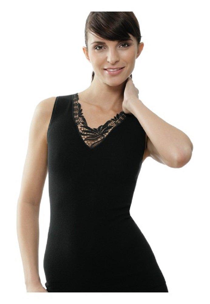 Medima Classic Damen-Hemd ohne Arm mit Spitze 20%Angora, schwarz - Größe XXL