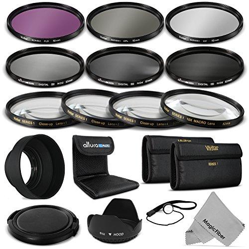 52Mm Complete Lens Filter Accessory Kit For Nikon D3300 D3200 D3100 D3000 D5300 D5200 D5100 D5000 D7000 D7100 Dslr Camera - Includes: Vivitar Filter Kit (Uv, Cpl, Fld) + Vivitar Macro Close Up Set (+1, +2, +4, +10) + Altura Photo Nd Neutral Density Filter