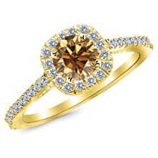 buy 1.1 Carat 14K Yellow Gold Gorgeous Classic Cushion Halo Style Diamond Engagement Ring With A 0.75 Carat Natural Untreated Brown/Champagne Diamond Center (Heirloom Quality)