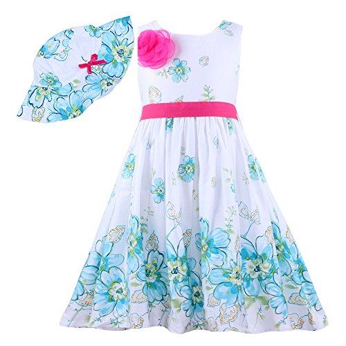 Mingao Little Girls' 2 Pcs Girls Dress Sunhat Rose Flower Summer Beach 8 Years