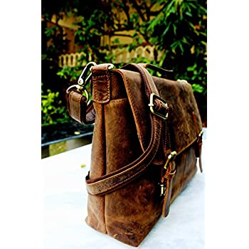 Handolederco Rustic Buffalo Hide Leather Messenger Laptop Shoulder Bag for Men and Women