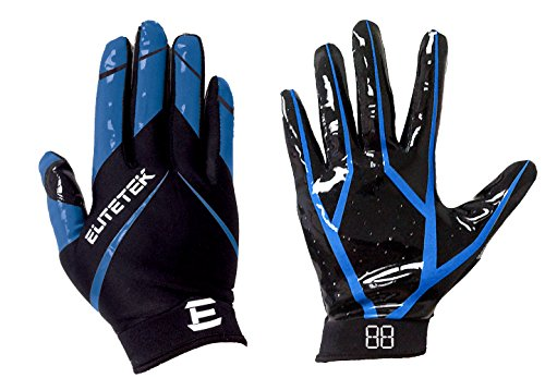 EliteTek RG-14 Football Gloves Youth and Adult (Blue, Youth S)