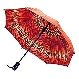 Galleria Orange Zebra Double Cover Folding Compact Umbrella