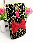Bling Shiny 3D Pink Bow Leopard Special Party Case Cover For LG Optimus G2 D800 D801 D802 D803 VS980 F320 (Red Bow)