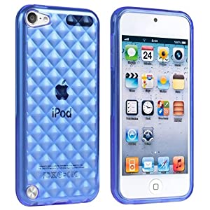 eForCity TPU Rubber Case Compatible with Apple® iPod touch® 5th Generation, Clear Dark Blue Diamond