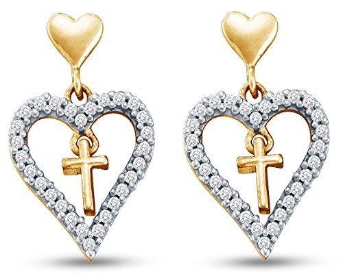 14K Yellow Gold Heart Shape Cross Dangle Channel Set Diamond Earrings (1/3 cttw.)