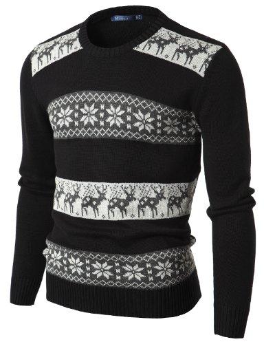 Doublju Mens Crew Neck Sweater with Snowflake Pattern BLACK (US-M)