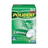 Polident 3-Minute Anti-Bacterial Denture Cleanser Tablets, Triple Mint Fresh, 108-Count Boxes (Pack of 3)