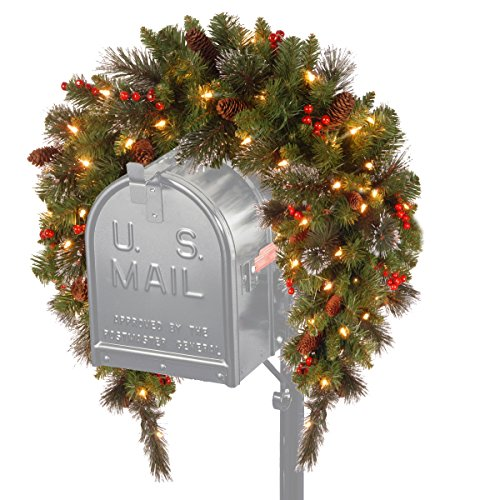 National Tree Crestwood Spruce Mailbox Cover With Silver Bristle, Cones, Red Berries And Glitter, 3-Feet