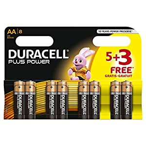 Duracell MN1500 Plus Power Alkaline Battery AA Size 5 + 3 Free (8 Pack)