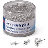Officemate Push Pins, Clear, 200 Count (35711)