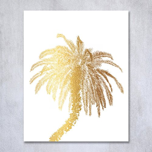 Palm-Tree-Gold-Foil-Decor-Wall-Art-Print-Island-Tropical-Art-Metallic-Poster-5-inches-x-7-inches-C21