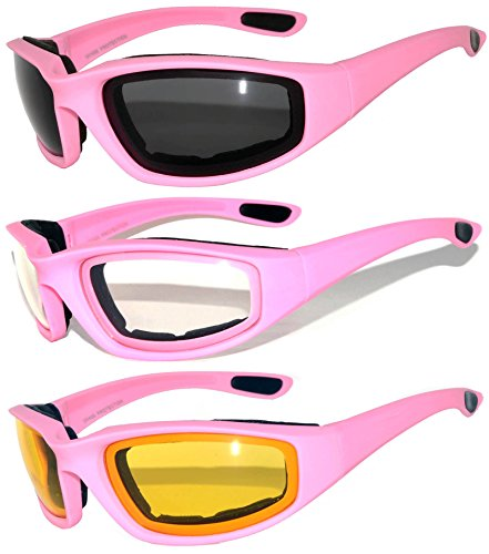 3 pairs of Womens Pink Padded Foam Motorcycle Biker Glasses Goggles 99% UV protection (MP-3pairs-Clear-Smoke-Yellow, Colored)